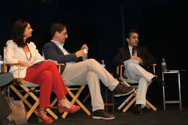 Claudio, Fava, Laura Boldrini, Alfredo Somoza alla presentazione di Mar del Plata, 16 luglio 2013 Teatro Franco Parenti